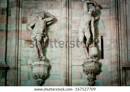 sculpture of Duomo Milan - stock photo