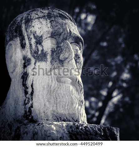 "Sculpture of Herodot - ""The Father of History"" in ancient culture of Greece. Statue of Herodotus in old Halicarnassus, modern Bodrum in Turkey. - stock photo"