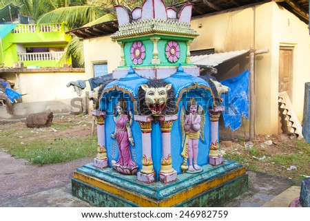 Sculpture of Hindu gods. - stock photo