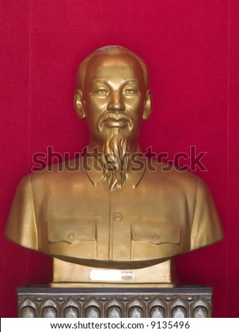 Sculpture of Ho Chi Minh, the leader of North Vietnam during the Vietnam War. - stock photo