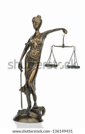 sculpture of justitia, symbolic photo for equity and justice - stock photo