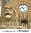 sculpture of lion in front of Victoria Railway station in Mumbai, UNESCO World Heritage Site, India - stock photo