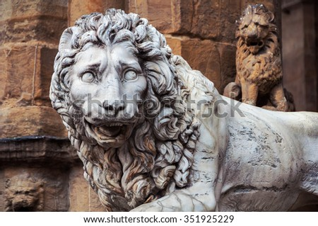Sculpture of Lion located in Florence, Italy