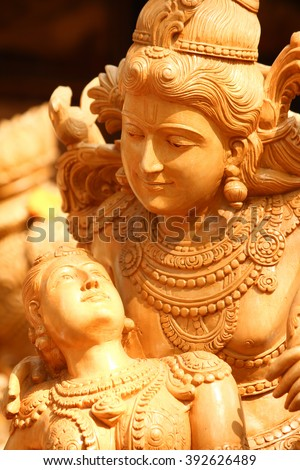 Sculpture of Lord Vishnu and Lakshmi with detail carving - stock photo
