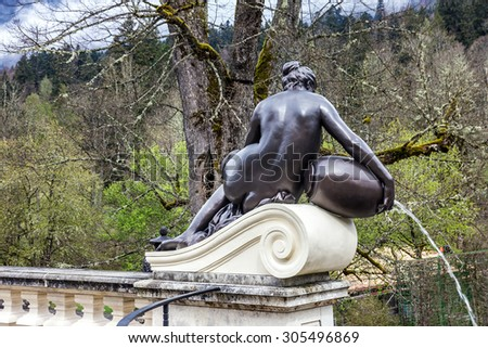Sculpture of nymph in Linderhof Palace park, Germany, Bavaria - stock photo