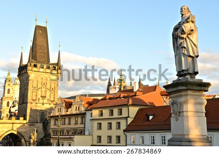 Sculpture of Philip Benizi de Damiani (St. Philip Benitius) on the Charles Bridge in Prague. Czech Republic - stock photo