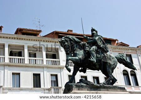 Sculpture of raider on the horse. Venice.