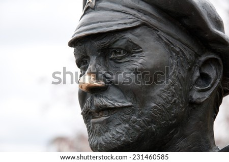 sculpture of russian soldier in Samara city, Russia.