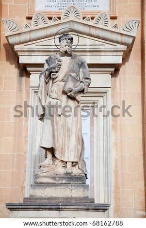 Sculpture of Saint Petr on wall of St. Mary church at Mosta, Malta - stock photo