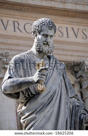 Sculpture of St. Peter in Vatican. Europe. - stock photo