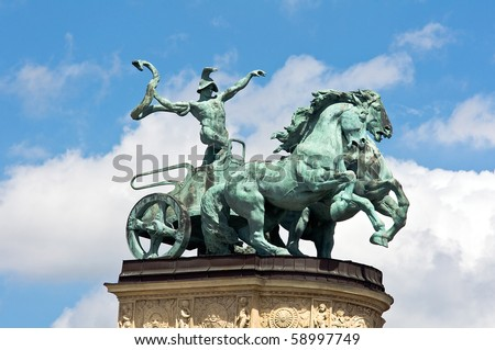 Sculpture of the chariot of the War at the Hero's Square Monument in Budapest, Hungary - stock photo