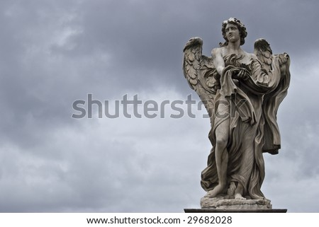 sculpture of the famous Ponte Sant Angelo in Rome by Bernini - stock photo