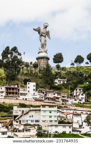 Sculpture of the Virgin in Panecillo hill Quito Ecuador South America - stock photo