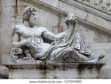 Sculpture of Tiber river in the Capitolium planed by Michelangelo. - stock photo