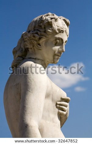 sculpture of woman, holding a breast, Moscow - stock photo