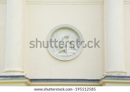 Sculpture on romantic building of Temple of Diana, Lednice,Valtice, Moravia, Czech republic - stock photo
