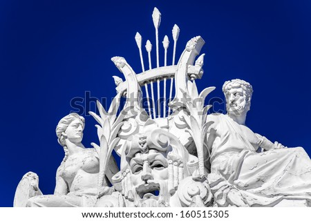 Sculpture on roof of circus of Saint Petersburg, Russia