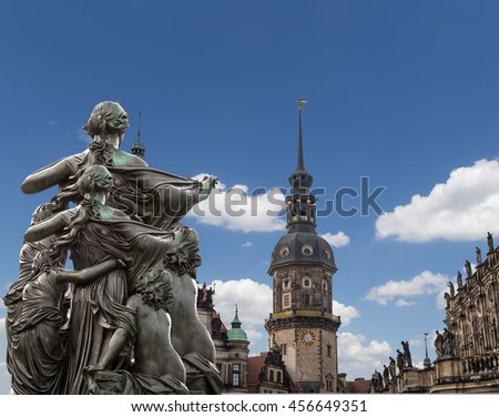 Sculpture on the Bruhl Terrace and  Hofkirche or Cathedral of Holy Trinity - baroque church in Dresden, Sachsen, Germany