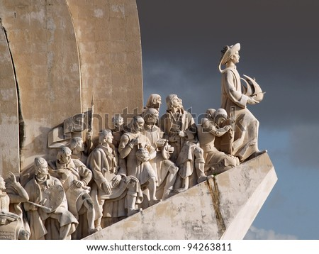 Sculpture on the Discoveries Age and Portuguese navigators in Lisbon, Portugal - stock photo