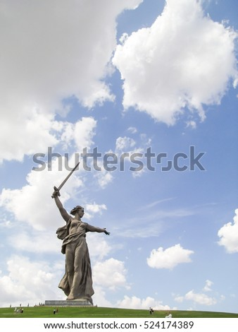 "Sculpture ""the Motherland calls!"" The monument ""to Heroes of Stalingrad battle"". The Guinness book of records. Monument on the background of clouds. Mamayev Kurgan, Volgograd, Russia. 3 Aug 2009"