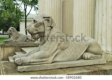 Sculptures at an input in the pavilion of the Ostankinsky palace - stock photo