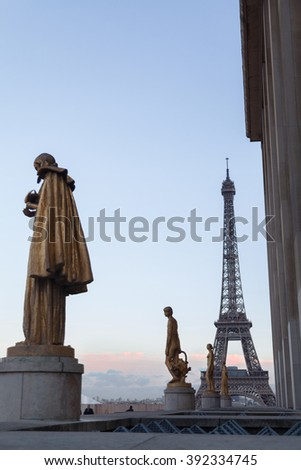 Sculptures in Trocadero in Paris, France.