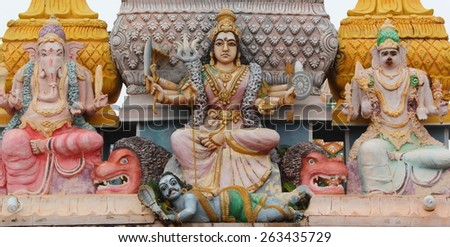 Sculptures of different hindu deities in a temple in Trincomalee (Sri Lanka) - stock photo