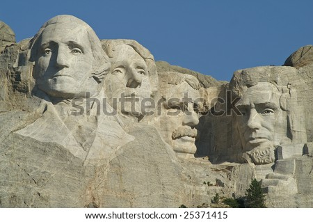 Sculptures of George Washington, Thomas Jefferson, Theodore Roosevelt and Abraham Lincoln at Mount Rushmore National Memorial - stock photo