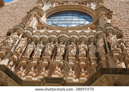 Sculptures of Jesus Christ and the 12 apostles at the Basilica at the Montserrat Monastery near Barcelona, Catalonia, Spain. - stock photo