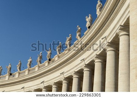 Sculptures of saints in Vatican, Rome, Italy - stock photo