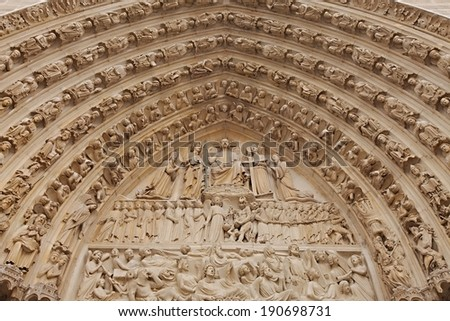 Sculptures of the gothic cathedral Notre Dame