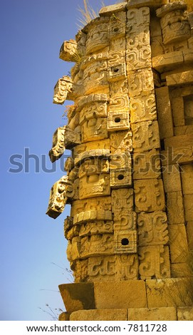 sculptures of the rain god at Uxmal - stock photo
