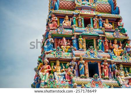 Sculptures on Hindu temple - stock photo