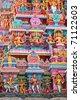 Sculptures on Hindu temple gopura (tower). Menakshi Temple, Madurai, Tamil Nadu, India - stock photo