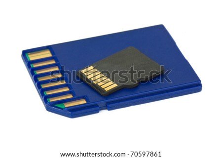 SD and MicroSD cards  isolated on the white background - stock photo