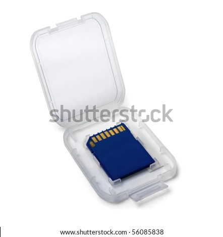 SD memory card in plastic case isolated on white - stock photo