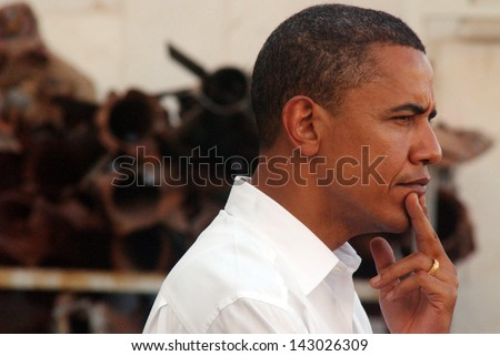 SDEROT, ISR - JULY 23:Barack Obama on July 23 2008.Sderot is a frequent Palestinian rocket attacks target from Gaza Strip.In his visit he warned that nuclear-armed Iran will threat world security. - stock photo