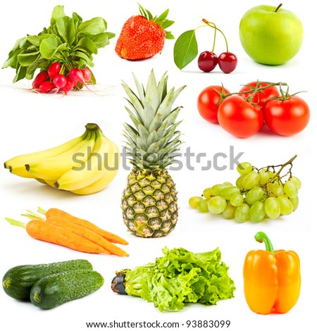 Se of fruits and vegetables on white background