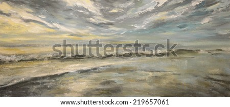 Sea after storm.Acrylic painting on canvas. - stock photo