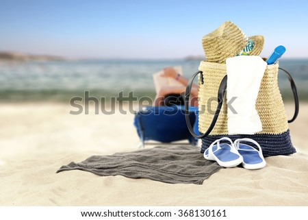 sea and beach background with towel of white color space