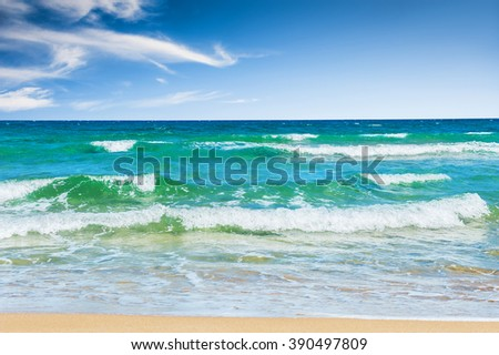 Sea and blue sky. Beautiful tropical beach with turquoise water and white sand.  - stock photo