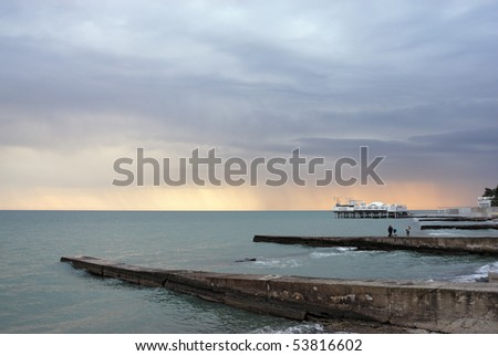 Sea and breakwaters