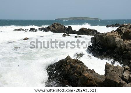 sea ??and island - stock photo