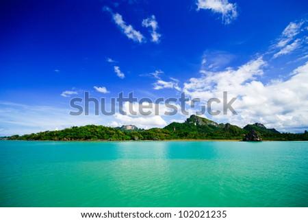 Sea and island on samui Thailand - stock photo
