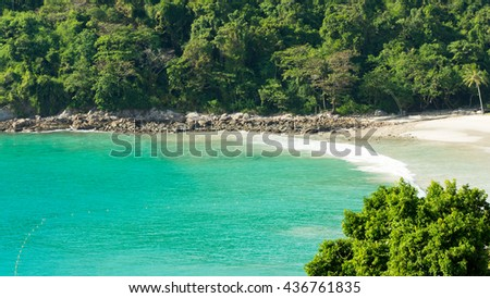 Sea and mountain. Unseen perspective beautiful viewpoint of sea island. Tropical island. Thailand. Summer time concept. - stock photo
