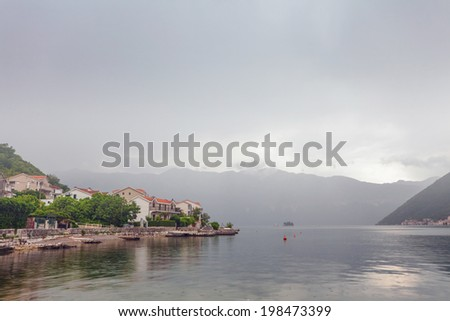 sea and mountains in bad weather. Montenegro
