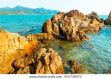 sea and rock - stock photo