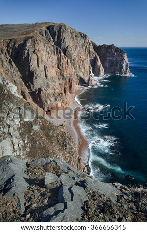Sea and rocks, seashore, Primorye, Vladivostok, Russia, Pacific ocean