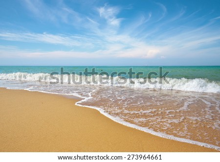 Sea and sand on the beach. Romantic composition. - stock photo
