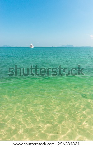 Sea and sky and mountain in Krabi from Thailand with a ship.
